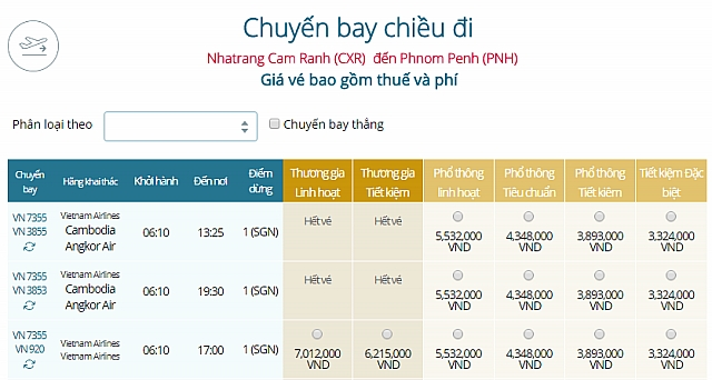 Giá vé máy bay Vietnam Airlines từ Nha Trang đi Phnom Penh
