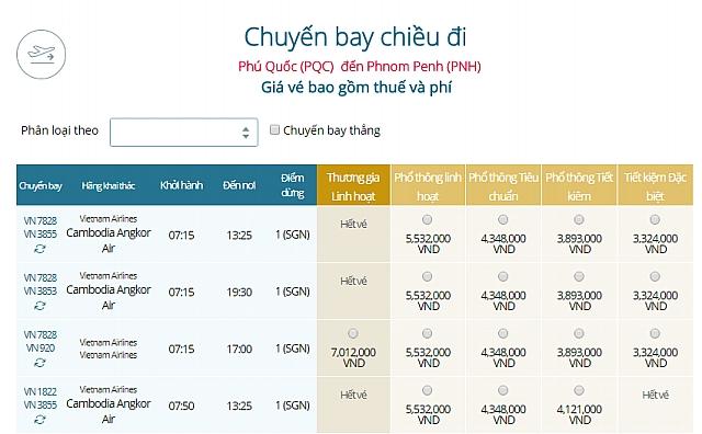 Giá vé máy bay Vietnam Airlines từ Phú Quốc đi Phnom Penh