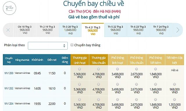 Giá vé máy bay Cần Thơ đi Hà NộiVietnam Airlines