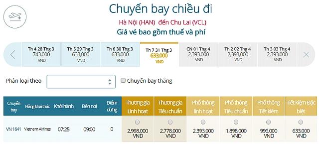 Giá vé máy bay Hà Nội đi Chu LaiVietnam Airlines