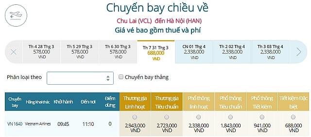 Giá vé máy bay Chu Lai đi Hà NộiVietnam Airlines
