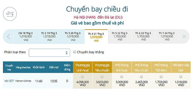 Giá vé máy bay Hà Nội đi Đà LạtVietnam Airlines