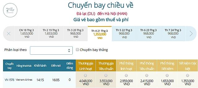 Giá vé máy bay Đà Lạtđi Hà Nội Vietnam Airlines