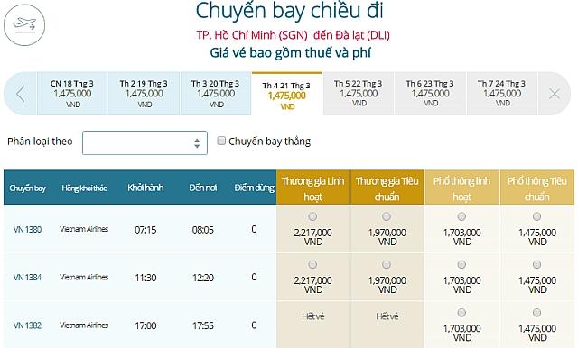 Giá vé máy bay TpHCM đi Đà LạtVietnam Airlines