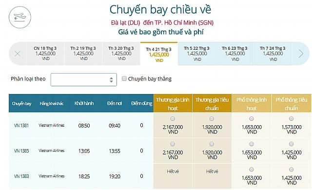 Giá vé máy bay Đà Lạtđi TpHCM Vietnam Airlines