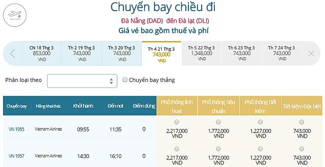 Giá vé máy bay Đà Nẵng đi Đà LạtVietnam Airlines