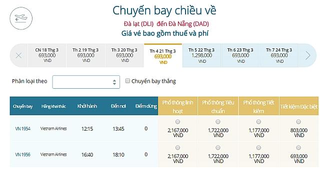 Giá vé máy bay Đà Lạtđi Đà Nẵng Vietnam Airlines