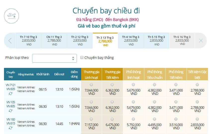 Giá vé máy bay Vietnam Airlines Đà Nẵng đi Thái Lan