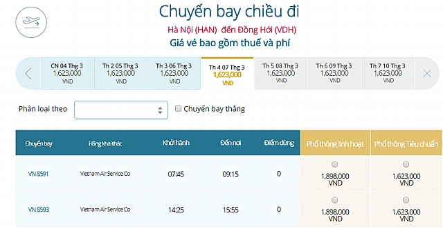 Giá vé máy bay Hà Nội đi Đồng HớiVietnam Airlines