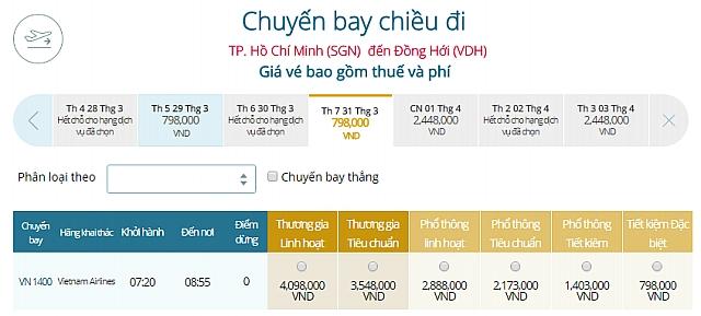 Giá vé máy bay TPHCM đi Đồng HớiVietnam Airlines