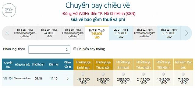 Giá vé máy bay Đồng HớiĐI TPHCM Vietnam Airlines