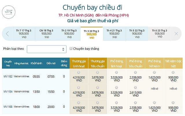 Giá vé máy bay TPHCM đi Hải PhòngVietnam Airlines