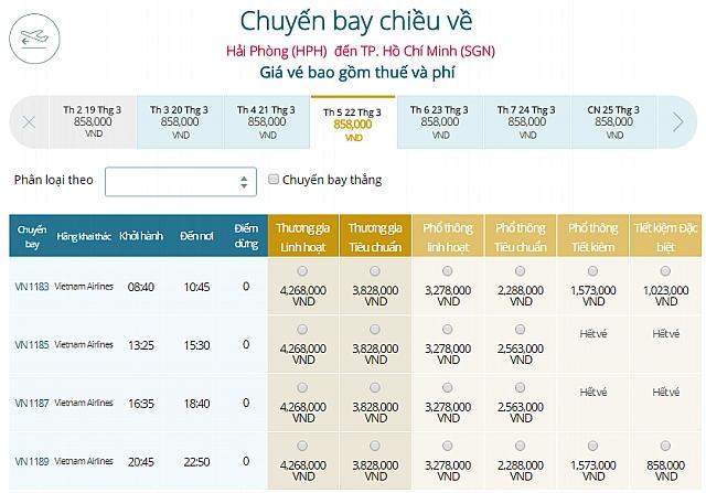 Giá vé máy bay Hải Phòng đi TPHCM Vietnam Airlines