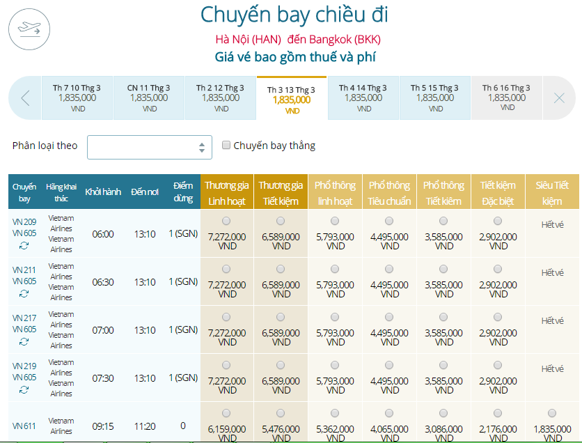 Giá vé máy bay Vietnam Airlines Hà Nội đi Thái Lan
