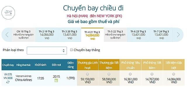 Giá vé máy bay Hà Nội đi New York, Mỹ Vietnam Airlines