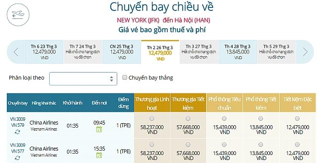 Giá vé máy bay đi New York, Mỹ Vietnam Airlines