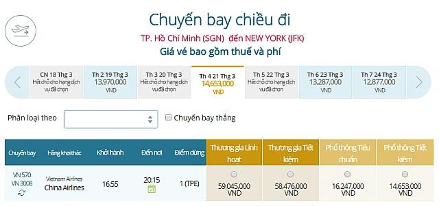 Giá vé máy bay TPHCM đi New York, Mỹ Vietnam Airlines