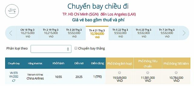 Giá vé máy bay đi Los Angeles, Mỹ