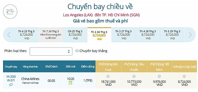Giá vé máy bay Los Angeles đi TPHCM