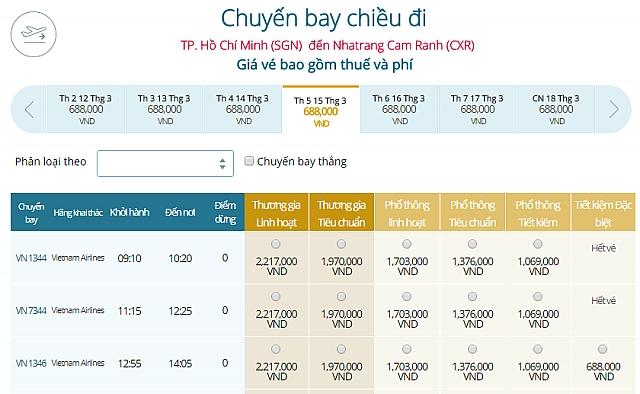 Giá vé máy bay TPHCM đi Nha Trang Vietnam Airlines