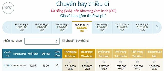 Giá vé máy bay Đà Nẵng đi Nha TrangVietnam Airlines