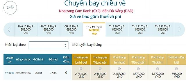 Giá vé máy bay Nha Trangđi Đà Nẵng Vietnam Airlines