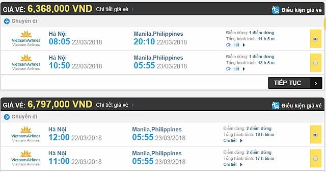 Giá vé máy bay Hà Nội đi Philippines