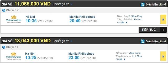 Giá vé máy bay Hà Nội đi Philippines hãng Vietnam Airlines