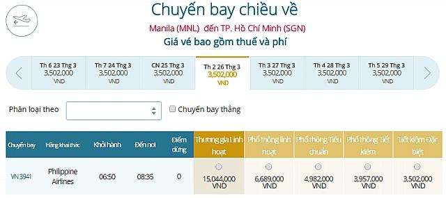 Giá vé máy bay Philippines đi TP HCM
