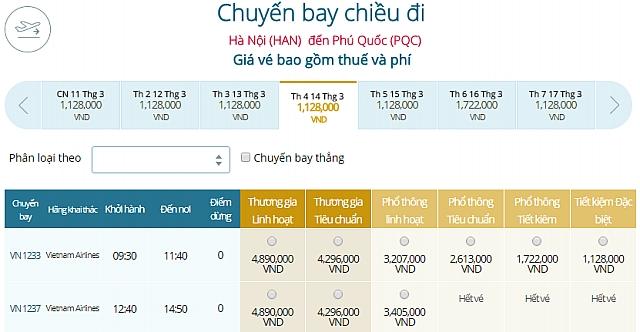 Giá vé máy bay Hà Nội đi Phú QuốcVietnam Airlines