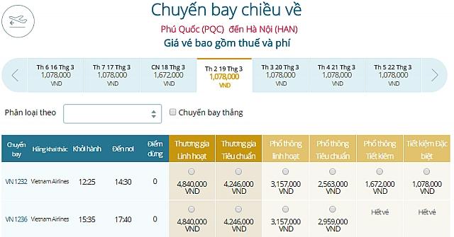 Giá vé máy bay Phú Quốcđi Hà Nội Vietnam Airlines