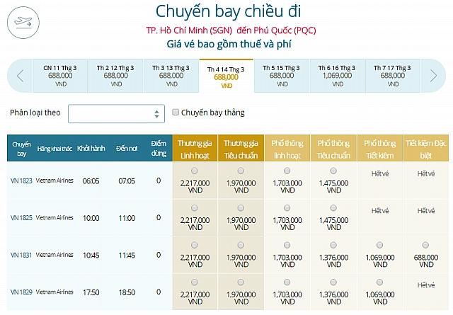 Giá vé máy bay TpHCM đi Phú Quốc Vietnam Airlines