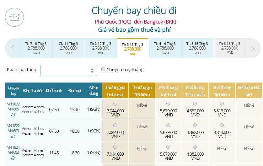 Giá vé máy bay Vietnam Airlines Phú Quốc đi Thái Lan
