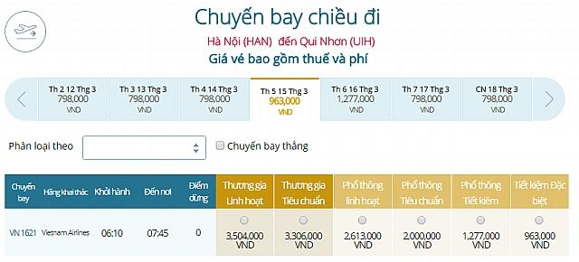 Giá vé máy bay Hà Nội đi Quy NhơnVietnam Airlines