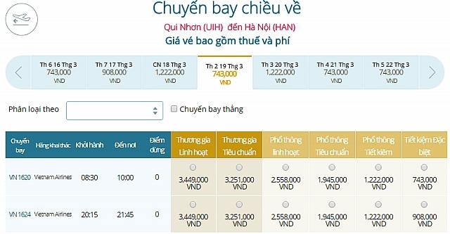 Giá vé máy bay Quy Nhơn ĐI Hà NộiVietnam Airlines