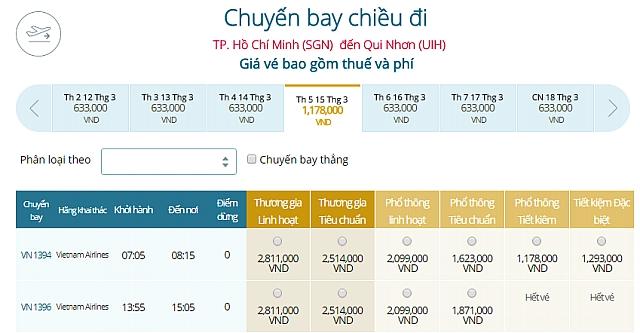 Giá vé máy bay TPHCM đi Quy NhơnVietnam Airlines