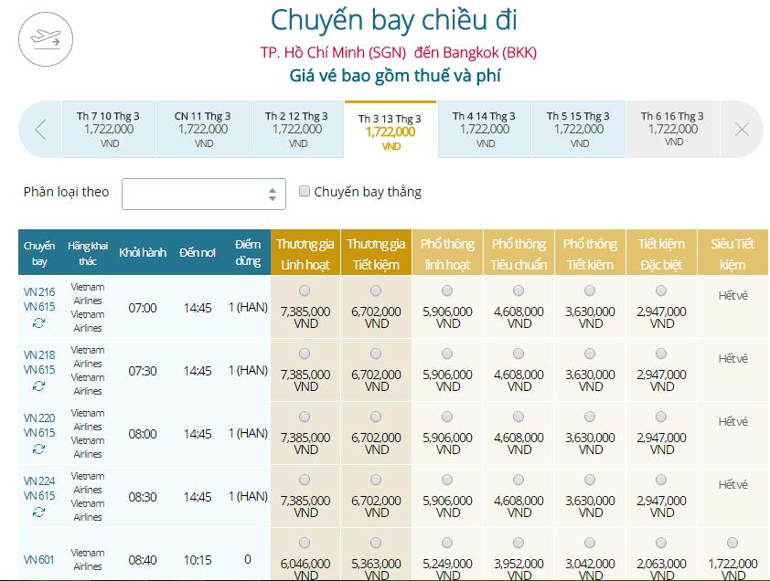 Giá vé máy bay Vietnam Airlines TPHCM đi Thái Lan