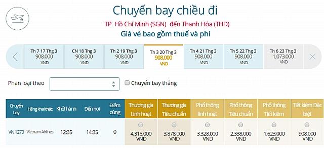 Giá vé máy bay TPHCM đi Thanh HóaVietnam Airlines