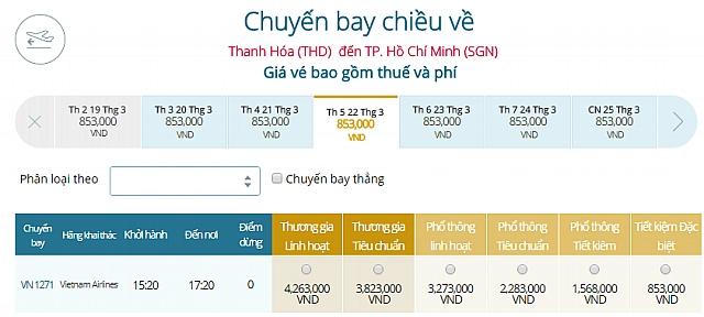 Giá vé máy bay Thanh Hóa đi TPHCMVietnam Airlines