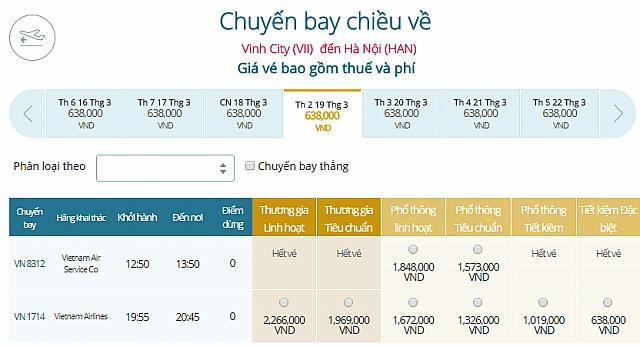 Giá vé máy bay Vinhđi Hà Nội Vietnam Airlines