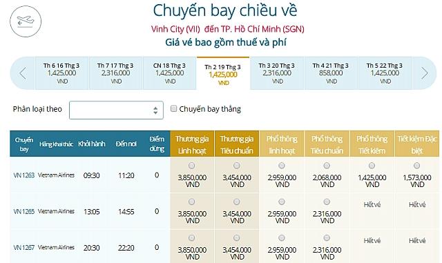 Giá vé máy bay Vinhđi TP HCM Vietnam Airlines