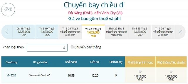 Giá vé máy bay Đà Nẵng đi VinhVietnam Airlines