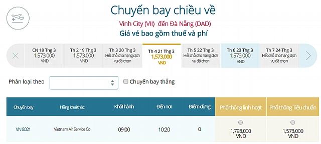 Giá vé máy bay Vinhđi Đà Nẵng Vietnam Airlines