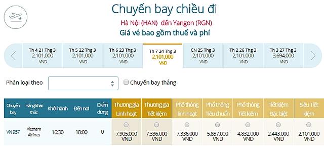 Giá vé máy bay Vietnam Airlines Hà Nội đi Yangon, Myanamr