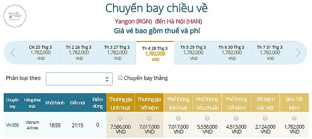 Giá vé máy bay Vietnam Airlines Myanamr đi Hà Nội