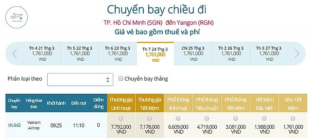 Giá vé máy bay Vietnam Airlines TP Hồ Chí Minh đi Yangon, Myanmar