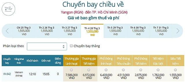 Giá vé máy bay Vietnam Airlines Yangon, Myanmar đi TP Hồ Chí Minh