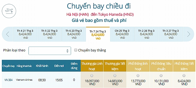 Giá vé máy bay Vietnam Airlines từ Hà Nội đi Tokyo Haneda, Nhật Bản
