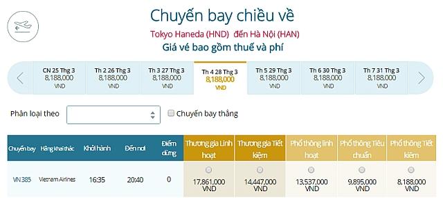 Giá vé máy bay Vietnam Airlines đi Tokyo Haneda đi Hà Nội