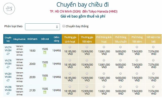 Giá vé máy bay Vietnam Airlines từ TPHCM đi Tokyo Haneda, Nhật Bản